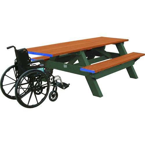 Deluxe 8 Picnic Table Ada Compliant Cedar Top BenchGreen Frame