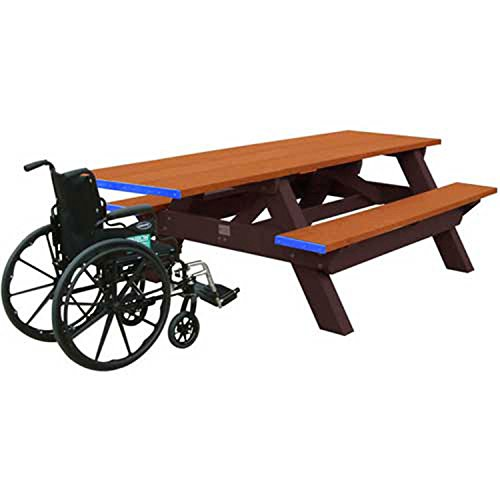 Standard 8 Picnic Table Ada Compliant One End Cedar Top BenchBrown Frame