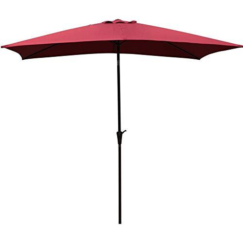 COBANA Rectangular Patio Umbrella Outdoor Table Market Umbrella with Push Button TiltCrank 66 by98 Burgundy