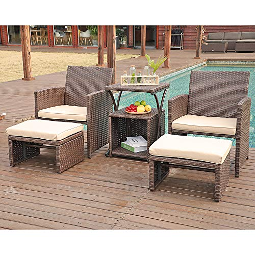 OC Orange-Casual Patio 6 Piece Wicker Furniture Set Rattan Chair with Cushioned Ottoman Resin Nesting Table Modern Design Brown