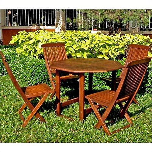 Folding Acacia Wood Table w Folding Chairs Set