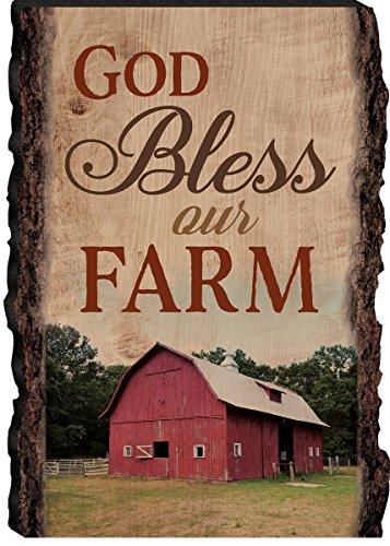 God Bless Our Farm Red Barn 4 X 6 Wood Bark Edge Design Sign