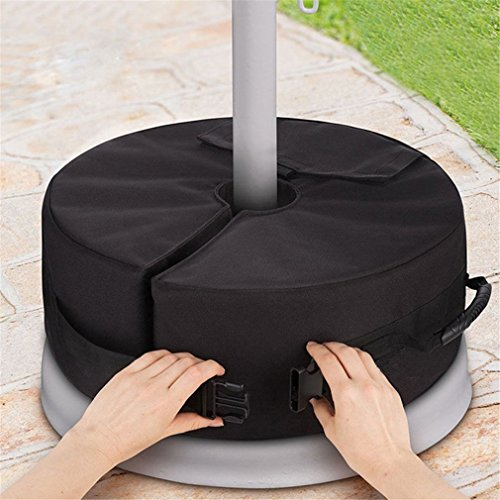 Mexidi 18 Resistant Round Umbrella Tent Base Weight Bag Canopy Patio Beach Round Umbrella Sand Bag with Large Openning - Fits Offset Cantilever or Outdoor Patio Umbrella Stand Black