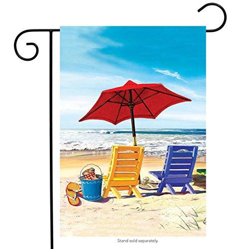 Briarwood Lane A Day at The Beach Summer Garden Flag Beach Chairs Umbrella 125 x 18