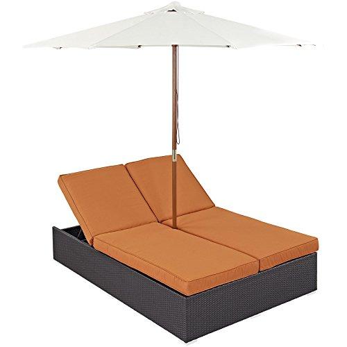 Modway Convene Wicker Rattan Outdoor Patio Double Chaise Lounge Chair and Umbrella Set in Espresso Orange