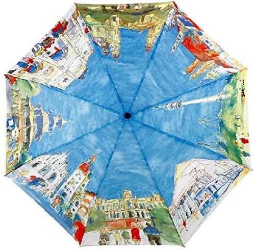 Glodeals Van Gogh Masterpiece Oil Painting Automatic 3 Folding Parasol Sunrain Umbrella Anti-uv Protection Umbrella