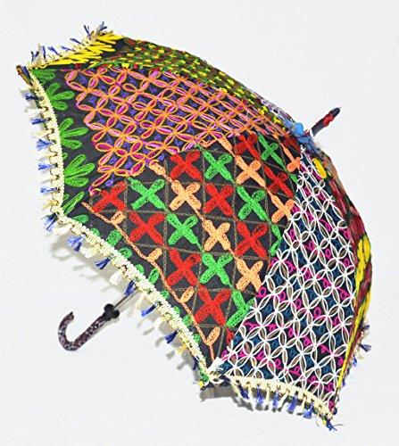 Lalhaveli Embroidered Design Cotton Women Sun Protection Umbrella 24 x 28 Inch
