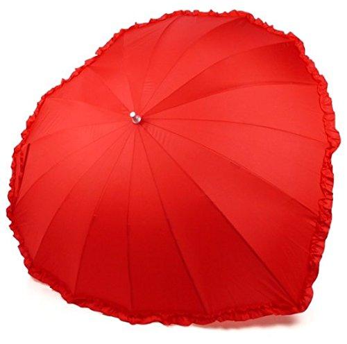 Singeek New style Princess Lady Girl 3 Folding Anti-UV Umbrella Sunscreen sun protection umbrella wedding umbrella red