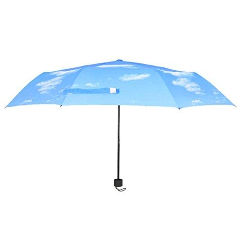 Umbrella Odeer Anti UV Sun Protection Umbrella Sky 3 Folding Parasols Rain Umbrella MaterialPolyester