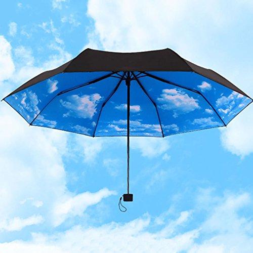 Zjzhao shop Anti-uv Sun Protection Umbrella Blue Sky 3 Folding Rain Umbrella