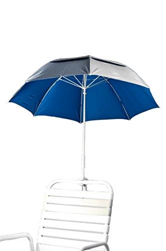 3 Deluxe Fiberglass Clamp Beach Umbrella Color Pacific Blue Underside