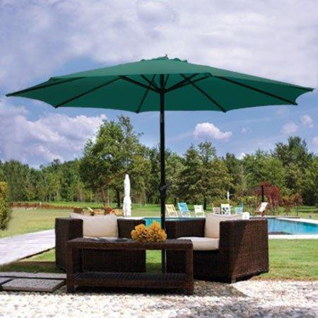9ft Green Sunshade Umbrella Metal Pole Outdoor Garden Yard Patio Beach Market Cafe 9