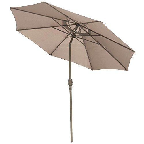 Yaheetech 10ft Aluminum Outdoor Beach Patio Pool Umbrella Parasol Crank Tilt Sunshade Cover Market Tan