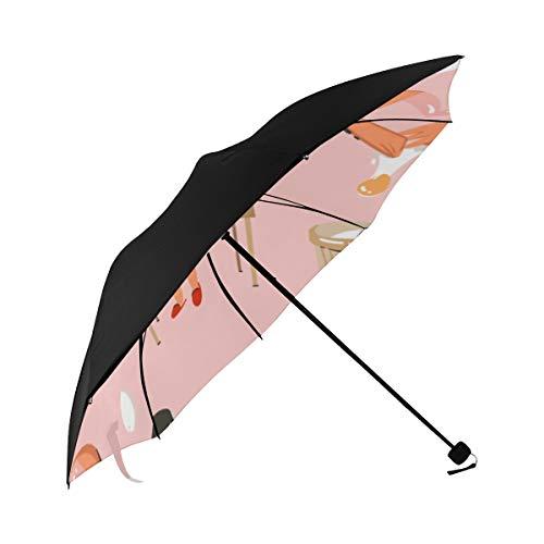 Rain Travel Umbrella Cake Delicious Snacks Model Underside Printing Patio Umbrella Stand Sun Reflective Umbrella Sun Umbrella Beach With 95 Uv Protection For Women Men Lady Girl