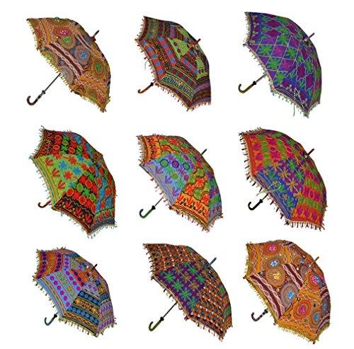 Wedding Umbrellas Indian Decorative Cotton Handmade Designer Cotton Fashion Multi Colored Umbrella Embroidery Boho UmbrellasBeach Umbrella UV Protection Umbrella Sun Umbrella Parasol 10 Pcs Lot