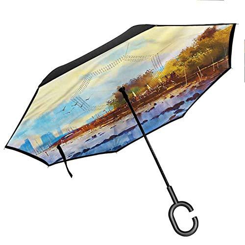 homecoco Straight Rod Car Weatherproof SunsetBeach Landscape Tropical Umbrellas Stand Inside