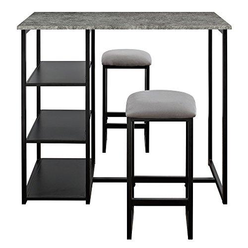 Dorel Living Farley 3-Piece Pub Set with Faux Concrete Top Gray  Black