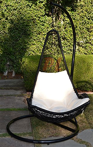 Egg Shape Wicker Rattan Swing Bed Chair Weaving Hanging Hammock- Black  Khaki