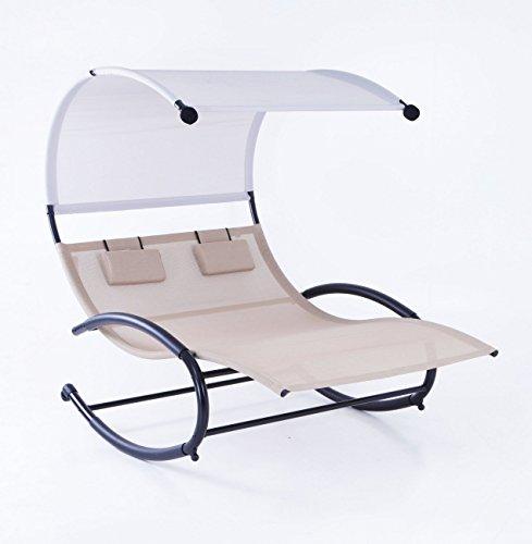 Belleze Double Chaise Rocker Patio Furniture Chair Canopy Pool Swing Rocker Hammock Beige