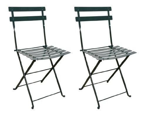Furniture DesignHouse French Café Bistro Folding Side Chair BlackGreen Frame Steel Metal Slats Pack of 2