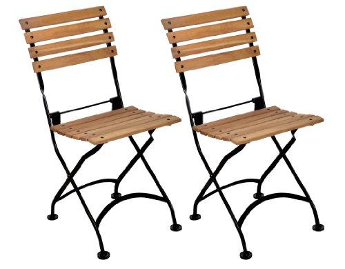 Furniture Designhouse French Caf&eacute Bistro Folding Side Chair Jet Black Frame African Teak Wood Slats pack Of 2