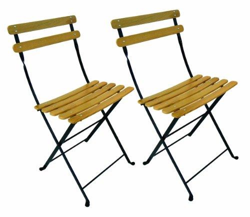 Furniture Designhouse French Caf&eacute Bistro Folding Side Chair Jet Black Frame Clear Painted European Chestnut