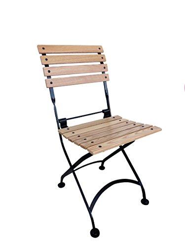 Furniture Designhouse French Caf&eacute Bistro Folding Side Chair Jet Black Frame European Chestnut Wood Slats pack