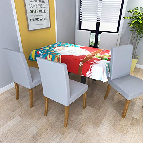 Alician Home Christmas Digital Printing Stretch Chair CoverKitchen Dining Table Cover Decoration Red Santa Tablecloth 140140cm