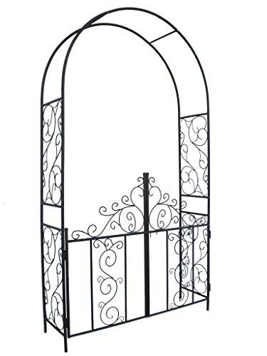 1Go Steel Garden Arch with Gate 75 High x 42 Wide Garden Arbor for Various Climbing Plant Outdoor Garden Lawn Backyard