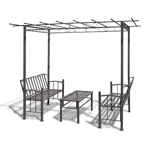 Anself Steel Garden Arbor with Two Benches and a Table