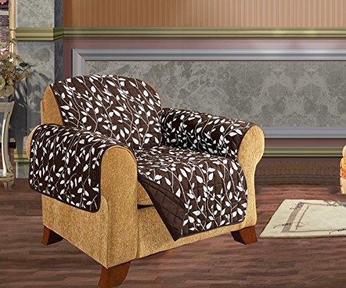 Elegance Linen Quilted Pet Dog Children Kids - Furniture Protector- Microfiber Slip Cover Chocolate Chair Leaf Design