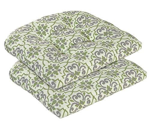 Bossima Indooroutdoor Wicker Seat Cushion Set Of 2 Greengrey Damask