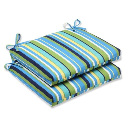 Pillow Perfect Outdoor Topanga Stripe Lagoon Squared Corners Seat Cushion Set Of 2