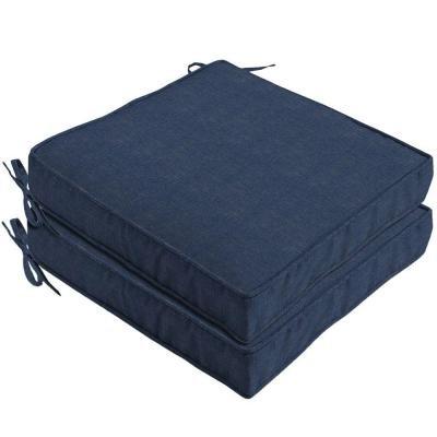 Hampton Bay 100 polyester filled Cobalt Outdoor Seat Cushion 2-Pack