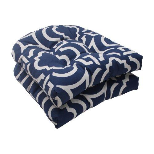 Pillow Perfect IndoorOutdoor Carmody Wicker Seat Cushion Navy Set of 2