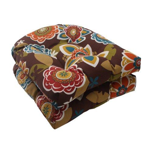 Pillow Perfect Indooroutdoor Annie Wicker Seat Cushion Chocolate Set Of 2