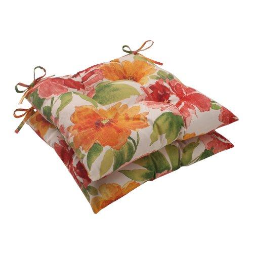 Pillow Perfect Indooroutdoor Primro Tufted Seat Cushion Orange Set Of 2