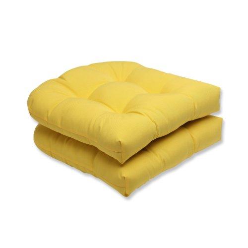 Pillow Perfect Outdoor Fresco Yellow Wicker Seat Cushion Set of 2