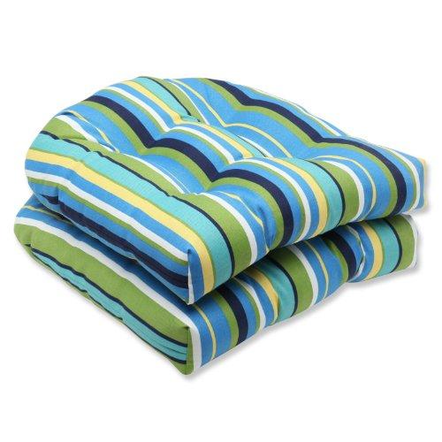 Pillow Perfect Outdoor Topanga Stripe Lagoon Wicker Seat Cushion Set of 2