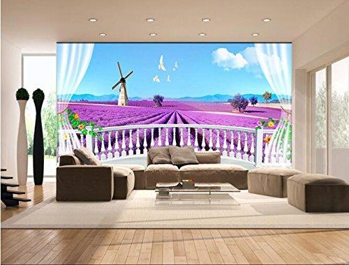 Lwcx 3D Wallpaper Custom Mural Non-Woven Wall Sticker Lavender Garden Setting Wall 3 D Window Painting Photo 3D Wall Murals Wallpaper 300X210CM