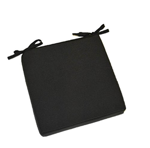 Indoor  Outdoor Solid Black Square Universal 3&rdquo Thick Foam Seat Cushion With Ties For Dining Patio Chair - Choose