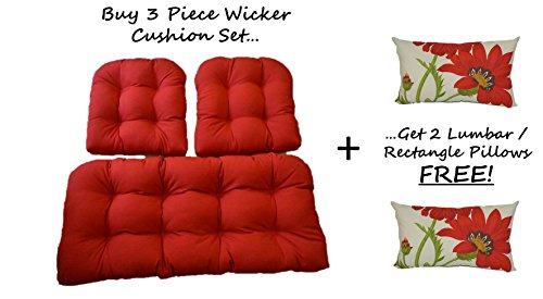 Solid Red Cushions For Wicker Loveseat Setteeamp 2 Matching Chair Cushions  2 Free Green And Red Poppy Flower