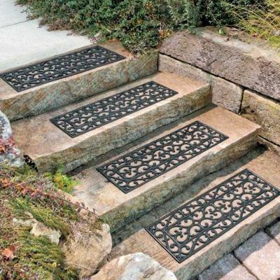 30&quot W Set Of 4 Elegant Outdoor Black Scrollwork Rubber Non Slip Stair Treads Mat