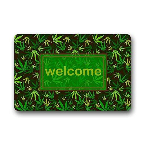 DENSY Door Mats Machine Clean Top Fabric Non Slip Rubber Backing Door  Outdoor Doormat Door Mats Welcome Marijuana Weed Leaf Green And Yellow Design 236 X 157 Inch