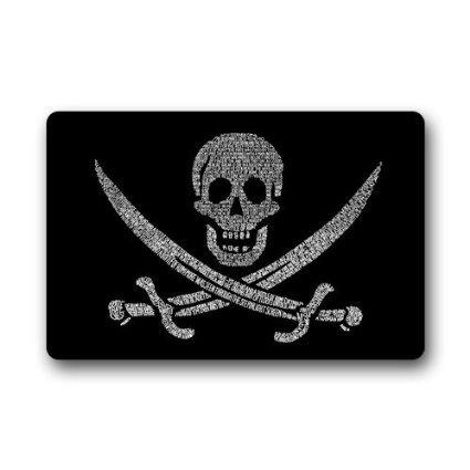 DailyLifeDepot Generic Machine Clean Top Fabric Non-Slip Rubber Backing Durable Indoor  Outdoor Doormat Door Mats - Pirate Skull Black Style