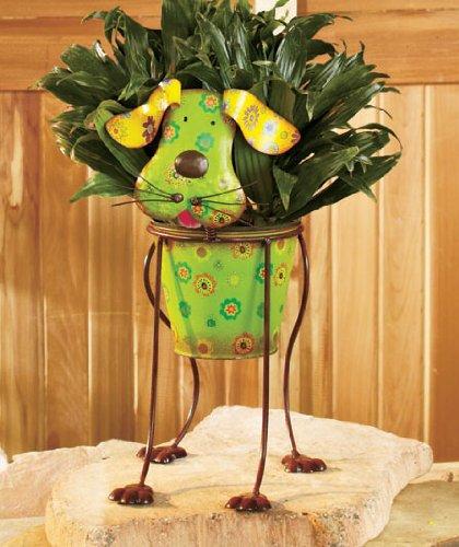 Cute Dog Whimsical Colorful Metal Garden Flower Pot Planter Adorable Spring Plant Herb Flowers Holder Yard Decor
