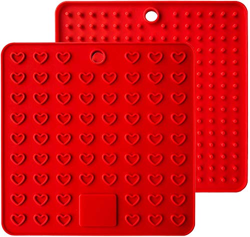 Fullgaden Multipurpose Silicone Pot Holders Trivets Jar Openers Spoon Rests - Extra Thick Protection - Set of 2 Red