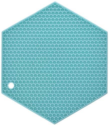 Lamson  HoneyComb HotSpot Pot Holder 7 x 7 Aqua Silicone