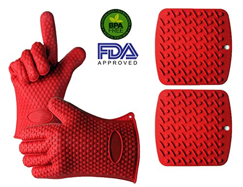 Vlighttmkitchen Heat Resistant Silicone Glovesgrilling Gloves Oven Pot Holder Baking Bbq Cooking Mitts gloves