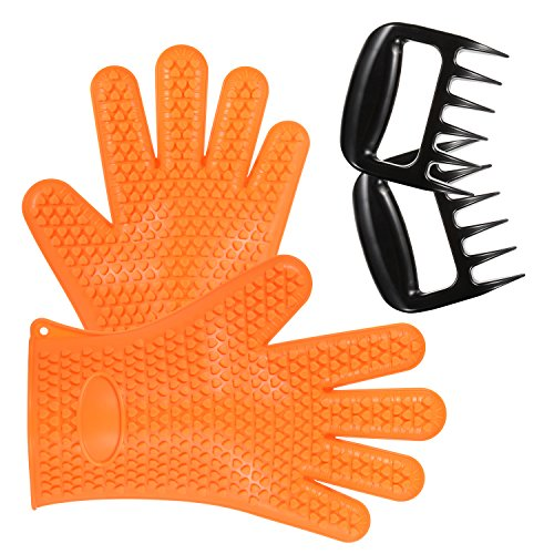 Yuntong Set Of Barbecue Glovesamp Pulled Pork Claws  Extra Thick Heat Resistant Food Safe Silicone Oven Mitts